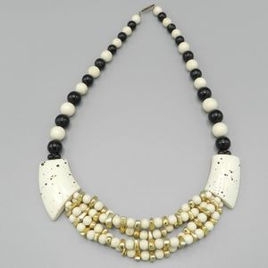 Chunky Black and Ivory Vintage Necklace